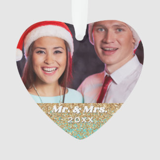 Mr. and Mrs. Married Couple Photo Gold Glitter Ornament
