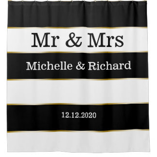 Mr And Mrs Names Wedding Date Black White Stripes