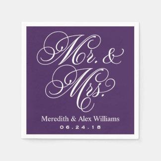 Mr. and Mrs. Napkins | Eggplant Purple and White Paper Napkin