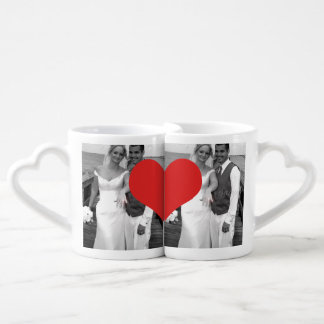 Mr and Mrs Newly Wed Heart Photo Wedding Lovers Mug Set