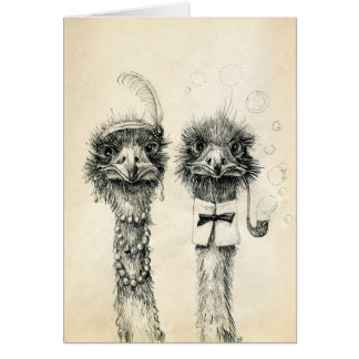 Mr. and Mrs. Ostrich Card