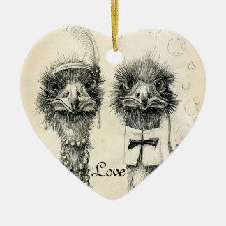 Mr. and Mrs. Ostrich Ceramic Ornament