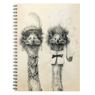 Mr. and Mrs. Ostrich Notebooks