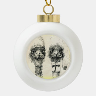 Mr. and Mrs. Ostrich vintage drawing Ceramic Ball Ornament