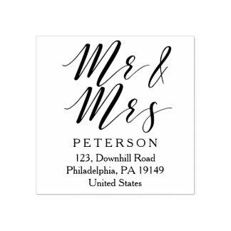 Mr and Mrs personalised elegant wedding stamp