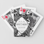 Mr and Mrs Personalized Anniversary or Wedding B&W Bicycle Playing Cards