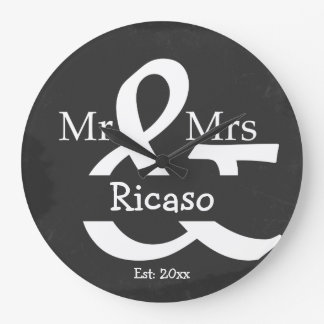 Mr And Mrs Personalized Faux Chalkboard Wall Clocks