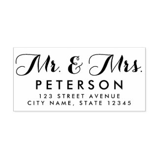 Mr and Mrs Personalized Rubber Stamp