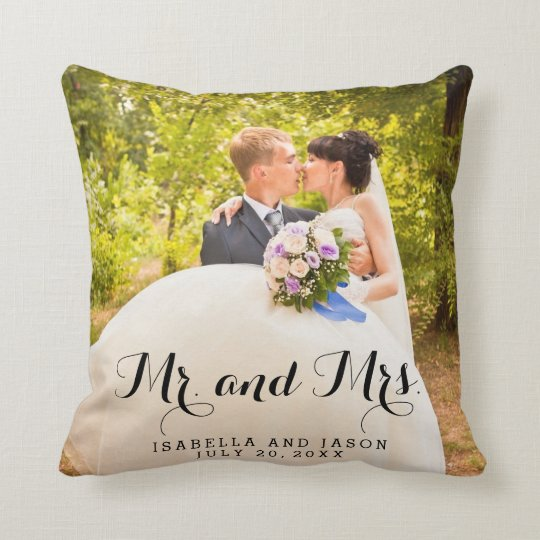 Mr And Mrs Personalized Wedding Photo Throw Pillow Zazzle Ca