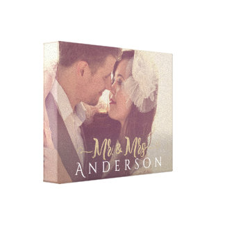 Mr. and Mrs. Photo with Name Canvas Print