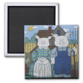 Mr And Mrs Pig Square Magnet