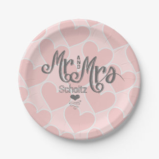 Mr. and Mrs. Pink Heart Pattern Chalkboard Style 7 Inch Paper Plate