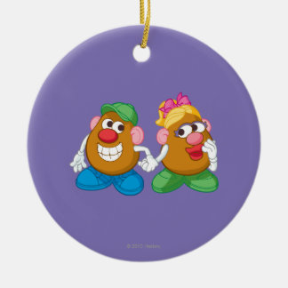 Mr. and Mrs. Potato Head Holding Hands Ceramic Ornament