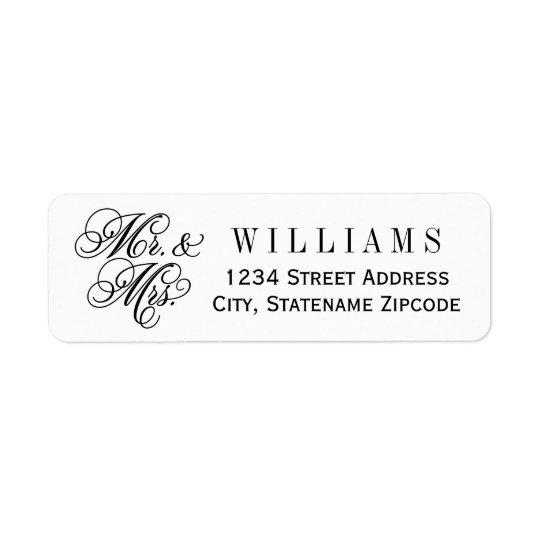 Mr. and Mrs. Return Address | Black