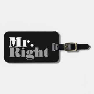 Mr and Mrs Right travel luggage tag for newly weds