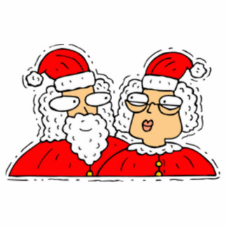 Mr and Mrs Santa Claus Photo Cut Outs