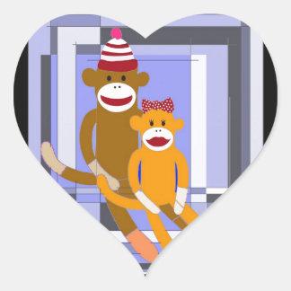 Mr. and Mrs. Sock Monkey. Heart Sticker