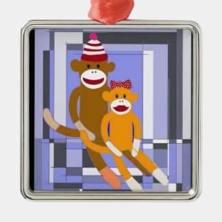 Mr. and Mrs. Sock Monkey. Silver-Colored Square Ornament