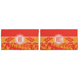 Mr and Mrs Summer Coral and Yellow Branches Pillowcase
