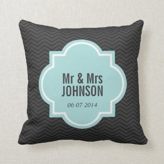 Mr and Mrs throw pillow with elegant chevron lines