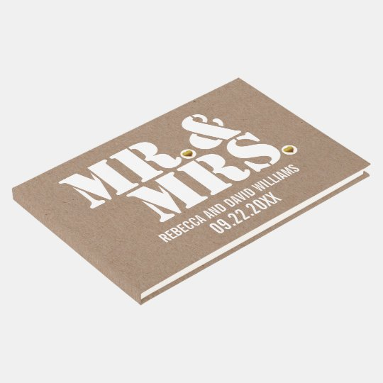 Mr. and Mrs. typography kraft paper rustic wedding Guest Book