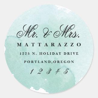 Mr. and Mrs. watercolor return address sticker