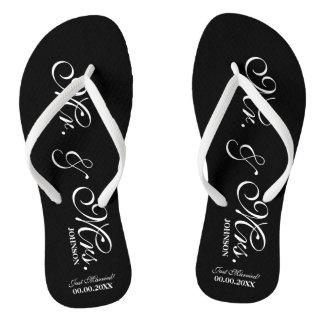 Mr and Mrs wedding flip flops for bride and groom
