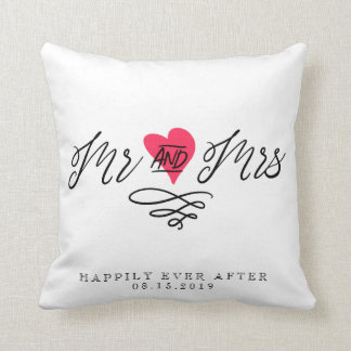 Mr and Mrs Wedding Keepsake Personalized Couple Throw Pillow
