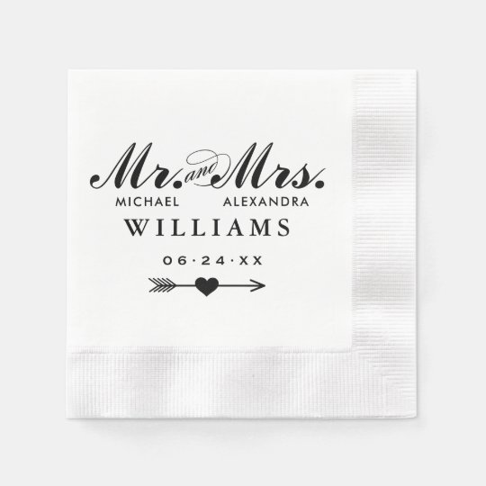 Mr. and Mrs. Wedding Napkin | Heart Arrow Monogram Disposable Napkin