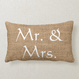 Mr. and Mrs. Wedding rustic burlap Lumbar Pillow