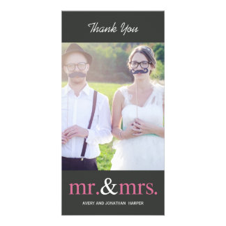 MR. AND MRS. Wedding Thank You Cards - Grey