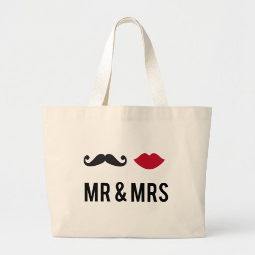 mr. and mrs. with mustache and red lips bags