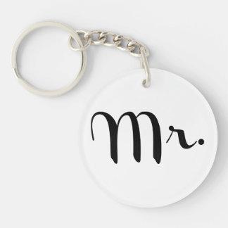 Mr. Black on White Single-Sided Round Acrylic Keychain