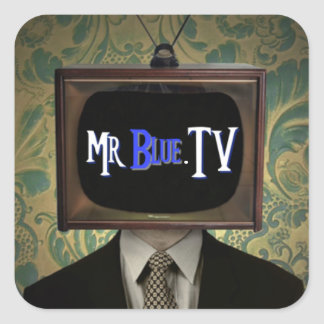 Mr Blue TV Square Sticker