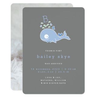 Mr Blue Whale Monogram Baby Boy Birth Announcement