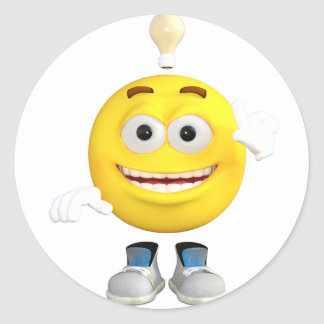 Mr. Brainy the Emoji that Loves to Think Round Sticker