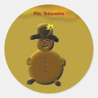 Mr. Brownie Round Sticker