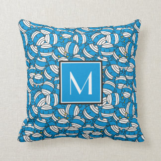 Mr Bump | Blue Confusion Pattern | Monogram Throw Pillow