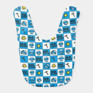 Mr Bump   Mosaic In Blue Pattern Baby Bibs