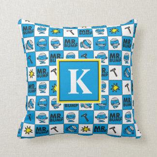 Mr Bump | Mosaic In Blue Pattern | Monogram Throw Pillow