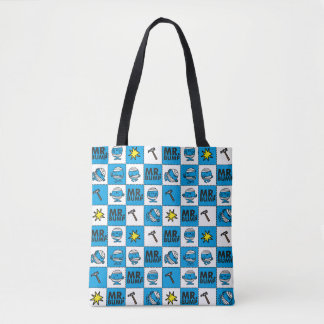 Mr Bump | Mosaic In Blue Pattern Tote Bag