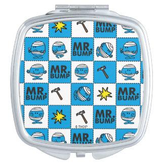 Mr Bump | Mosaic In Blue Pattern Travel Mirror