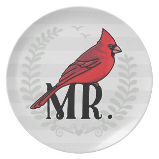Mr. Cardinal Mr and Mrs His and Hers Plate