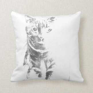 Mr Cat Grey Pillow by MJ'designs