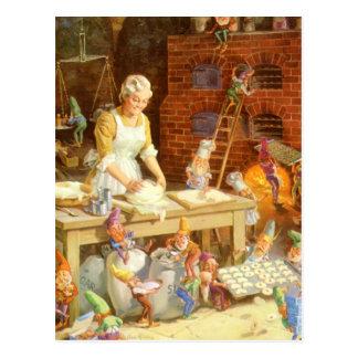 Mr. Claus and Santa's Elves Bake Cookies Postcard