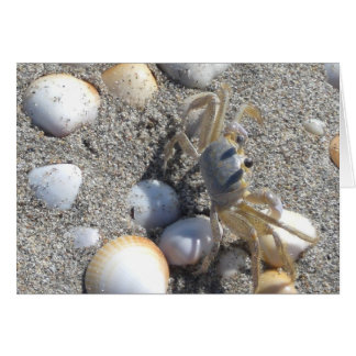Mr. Crab on the a shell-filled beach Greeting Card