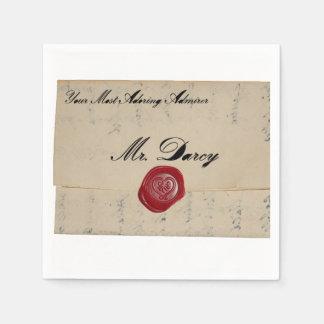 Mr Darcy Regency Love Letter Disposable Napkins