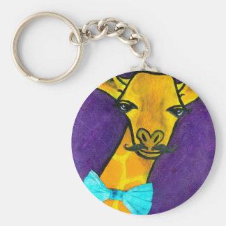 Mr. Fancy Giraffe Basic Round Button Keychain