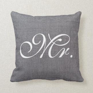 Mr. Faux Linen canvas textile burlap Weds Pillow
