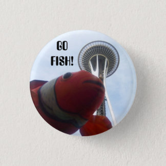 MR. Fish Goes to Seattle 1 Inch Round Button